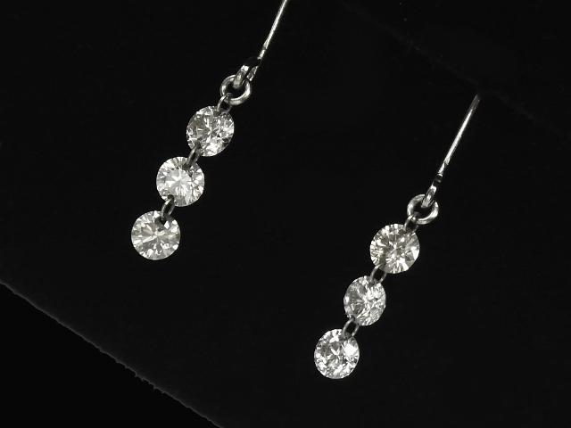 【NEW】 ピアス - earing - トリロジー 3Pダイヤ ピアス PT プラチナ 無垢 / ダイヤモンド (0.56ct)