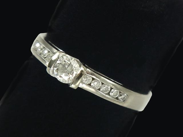 【New Finish】 ダイヤモンド リング - RING 1粒&10Pダイヤ WG ホワイトゴールド 無垢 / ダイヤ (0.50ct) 指輪