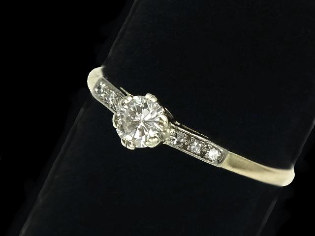 【New Finish】 ダイヤモンド リング - RING - 1粒&6Pダイヤ PT・YG プラチナ・イエローゴールド 無垢 / ダイヤ (0.42ct) 指輪