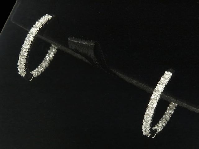 【NEW】 ピアス - earing - インサイドアウトフープピアス 18P ラウンド ダイヤ ×2  WG ホワイトゴールド 無垢 / ダイヤモンド (0.65ct)