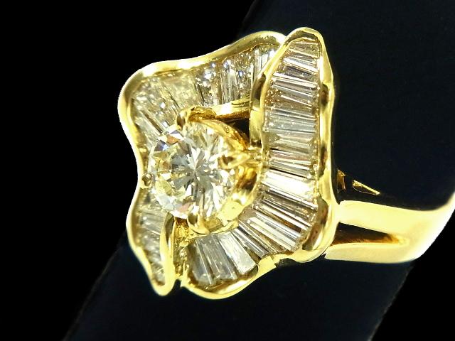 NEW 安い 激安 プチプラ 高品質 ダイヤモンド リング - RING リーフデザイン 1粒 3.06ct 指輪 YG ダイヤ 無垢 卸売り イエローゴールド バケットダイヤ