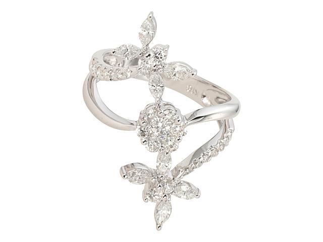 NEWダイヤモンド リングRINGフラワー モチーフ マーキスラウンド ダイヤWG ホワイトゴールド 無垢ダイヤ1 35ct指輪dWBeCrxo