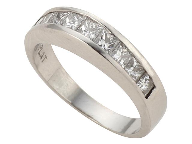 【NewFinish】 ダイヤモンド リング - RING - ハーフエタニティ 9Pプリンセスカット ダイヤモンド PT プラチナ 無垢 /ダイヤ(0.72ct) 指輪