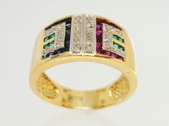 【NewFinish】ダイヤモンド リング - RING - グリークキーデザイン 12P ルビー + 12Pサファイア + 8P エメラルド・28P ラウンドダイヤ  YG イエローゴールド 無垢 / 大型リング 指輪