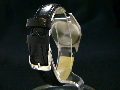 Zenith - ZENITH - black dial small second SS case / leather belt Womens (secondhand)