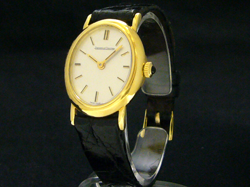 ★ points 10 times! ★ Jaeger-LeCoultre - JAEGER LE COULTRE - oval hand-wound YG case / leather Womens