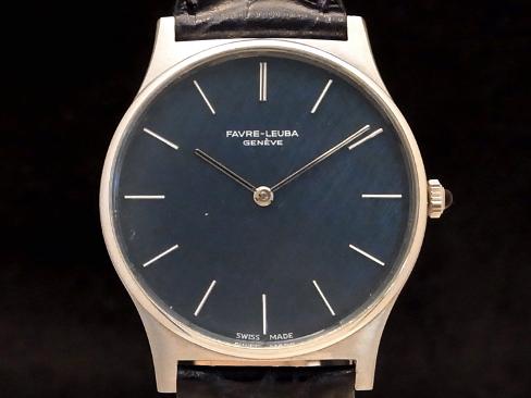 【USED】 ファーブル ルーバ - FAVRE LEUBA - ラウンド ネイビー顔 手巻き SSケース/革ベルト メンズ 腕時計【中古】