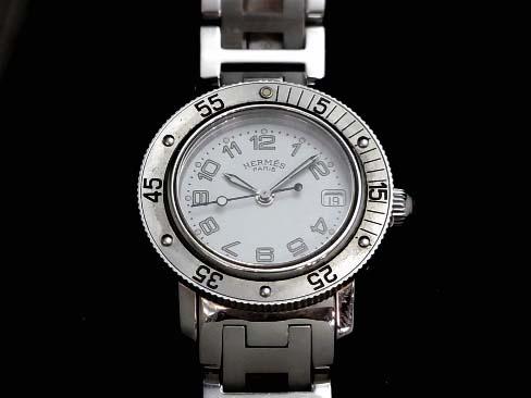 【USED】 エルメス - HERMES - クリッパー ダイバー 白顔 SSケース/SSブレス レディース クオーツ 【Luxury Brand Selection】腕時計【中古】