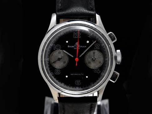 【USED】 ボーム&メルシェ - BAUME&MERCIER - 2レジスター クロノグラフ ランデロン149搭載 SS/革 黒顔 手巻き メンズ 腕時計【中古】