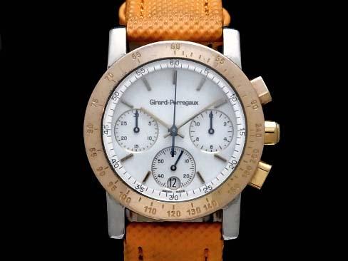 【USED】 ジラールペルゴ - GIRARD PERREGAUX - GP7700 クロノグラフ メカニカルクオーツ 18KPG/SS/革 白文字盤 メンズ 腕時計 【中古】