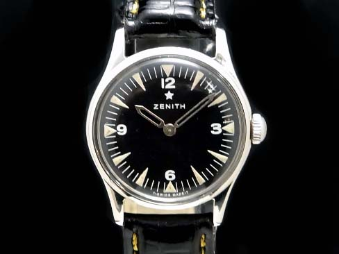 【USED】 ゼニス - ZENITH - スターエンブレム ミリタリーデザイン ヴィンテージ 黒顔 手巻き SS/革 ボーイズ 腕時計 【中古】