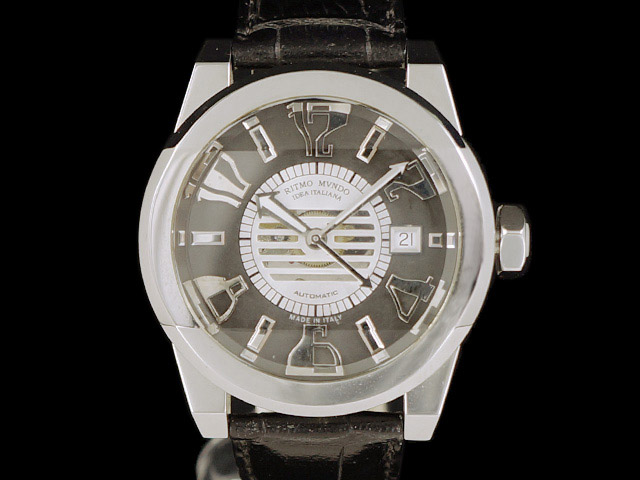 【展示未使用品】 リトモ・ムンド - RITMO MVNDO - パンテオン ブラックダイヤル SS/革 自動巻  ハリウッド セレブ 御用達 メンズ レア 腕時計 【中古】