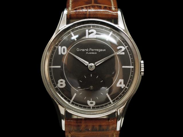 【USED】 ジラール・ペルゴ - GIRARD PERREGAUX - スモセコ 飛びアラビアン 貴重! ビッグケース ブラックダイヤル SSケース/革 手巻き メンズ 腕時計【中古】