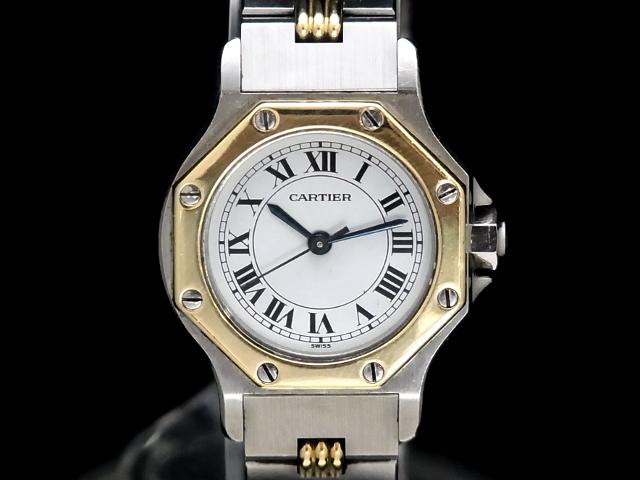 【USED】 カルティエ - CARTIER - サントス オクタゴン SM ローマン 貴重 ゴドロンブレス 18KYG/SS 自動巻き ホワイトダイヤル レディース 腕時計 【Luxury Brand Selection】【中古】