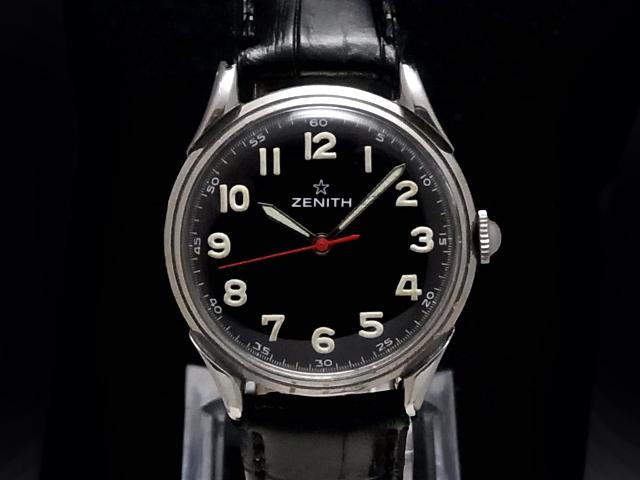 【USED】 ゼニス - ZENITH - スターエンブレム ラウンド アラビア ヴィンテージ 黒顔 手巻き SS/革 メンズ 腕時計 【中古】
