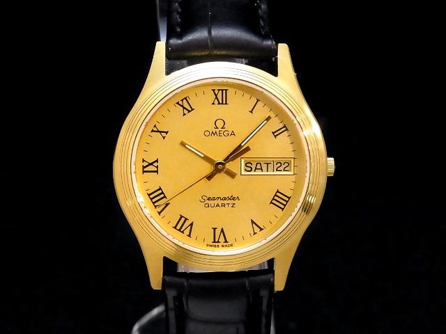 【USED】 オメガ - OMEGA - シーマスター デイデイト ローマンインデックス YGPケース/革 金 ゴールド ダイヤル クオーツ メンズ 腕時計 【中古】