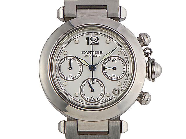 【USED】 カルティエ - CARTIER - パシャ クロノグラフ 2412 白 ホワイト 格子 ダイヤル 自動巻き SS / SS メンズ 腕時計 【Luxury Brand Selection】 【中古】