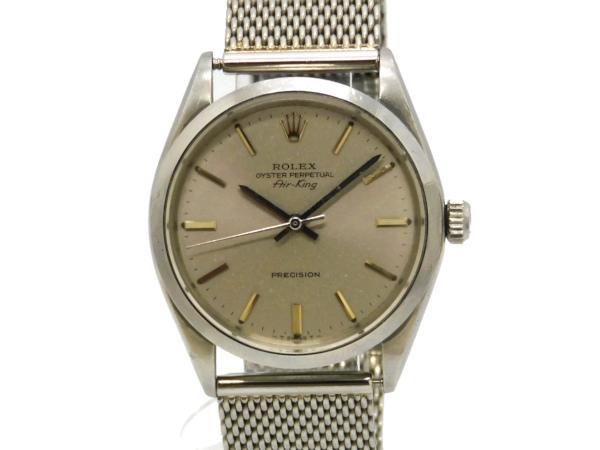 Rolex , ROLEX , air King 5500 vintage SS case /SS breath (mesh breath)  self,winding watch silver face men