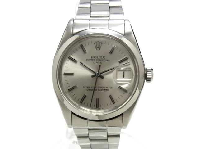 【USED】 ロレックス - ROLEX - オイスターパーぺチュアルデイト 1500 貴重! 巻き込み ブレス 銀 シルバー トリチウム ダイヤル SS/SS 自動巻 メンズ 腕時計 【中古】