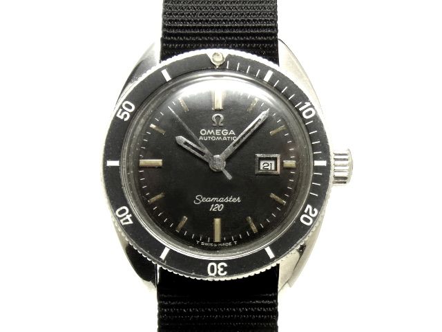 【USED】オメガ -OMEGA- シーマスター 120 デイト 希少! ヴィンテージ ダイバー 黒 ブラック ダイヤル Cal.681搭載 1960年代製 SS/ナイロン 自動巻 ボーイズ 腕時計 【中古】