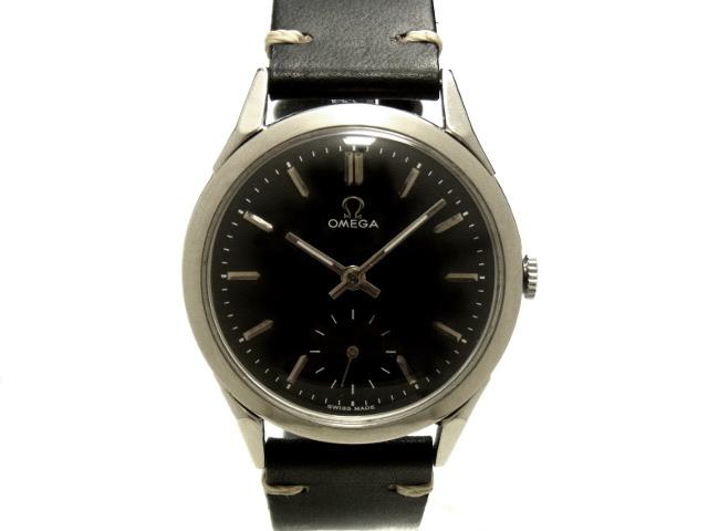 【USED】オメガ -OMEGA- スモセコ クサビ インデックス ヴィンテージ 希少! 黒 ブラック ダイヤル Cal.266 1950年代製 SS/革 手巻き メンズ【Luxury Brand Selection】 腕時計 【中古】