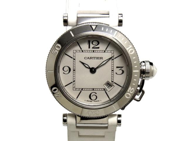 【USED】 カルティエ - CARTIER - パシャ シータイマー レディ 人気! 白 ホワイト ダイヤル SS/ラバー クオーツ レディース ボーイズ 腕時計 【Luxury Brand Selection】 【中古】