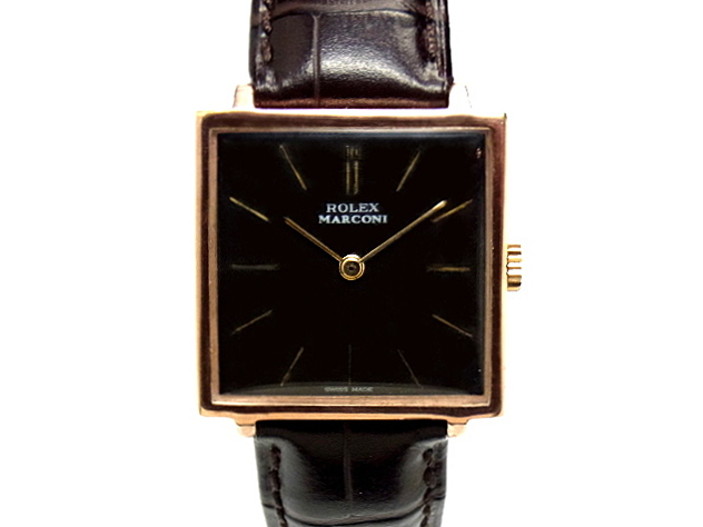 【USED】 ロレックス - ROLEX - マルコーニ Wネーム スクエア ヴィンテージ 希少! RGP・SS/革 手巻 メンズ ボーイズ 腕時計 【中古】