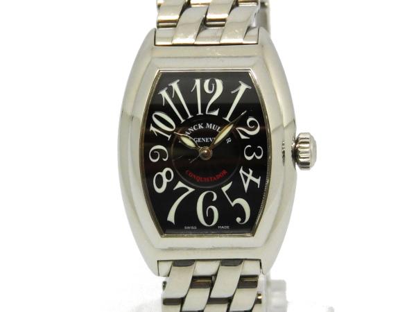 USED フランクミュラー - FRANCK MULLER コンキスタドール 8005LQZ 売却 送料無料 黒顔 SS 中古 腕時計 レディース クオーツ