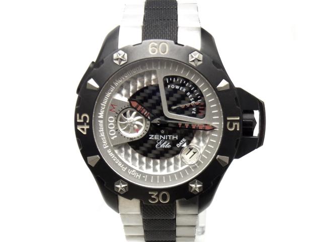 USED ゼニス - ZENITH デファイ エクストリーム パワーリザーブ 希少 白 ホワイト 黒 中古 ブラック SS ダイヤル チタン パンダ メンズ 自動巻 今季も再入荷 ブレス モデル着用&注目アイテム 腕時計 カーボン