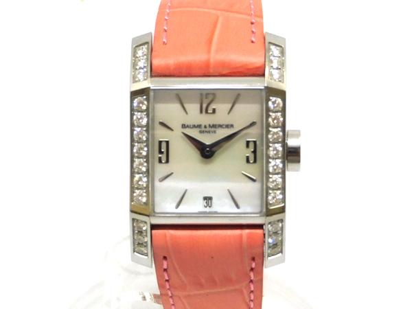 USED ボーム 新登場 メルシェ - BAUMEMERCIER ディアマント ダイヤモンドベゼル MOA8666 クオーツ 革 レディース SSケース 腕時計 シェル文字盤 中古 格安 価格でご提供いたします