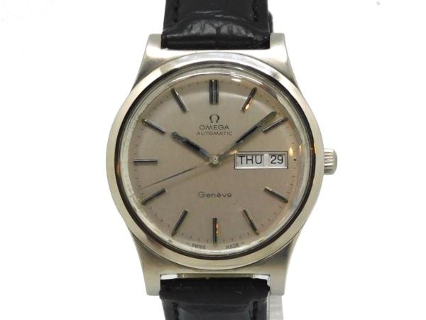 USED オメガ - OMEGA ストア ラウンド ヴィンテージ デイデイト SSケース 革 中古 高級品 Selection 腕時計 Brand Luxury メンズ 自動巻き シルバー文字盤
