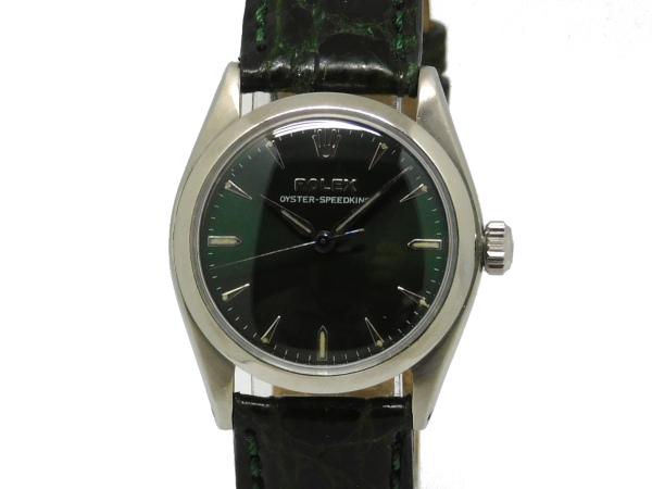 USED ロレックス - ROLEX オイスター スピードキング Ref.6420 グリーン文字盤 SSケース ボーイズ 手巻き 中古 革 Brand 5%OFF 倉庫 Luxury Selection メンズ 腕時計
