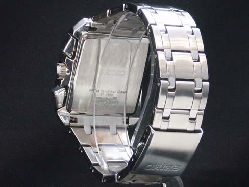精工儀器公司-精工-圖表 7T62 0GK0 skeakrono 扭轉 SS/SS 黑色錶盤男士