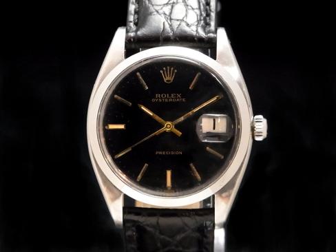 Rolex - ROLEX - Oyster date am Ref.6694 OH!  Black face SS case / leather men's hand caught Sakura shimmachi