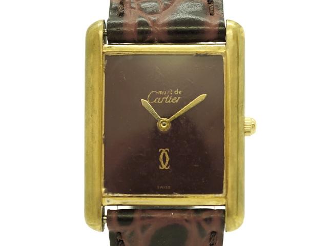 【USED】 カルティエ - CARTIER - マストタンク  ボルドーダイヤル YGPケース/革 手巻き レディース 腕時計 【Luxury Brand Selection】 【中古】
