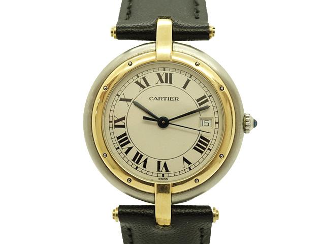 【期間限定! 5%OFFクーポン有!全品使用可能!】【USED】 カルティエ ‐ CARTIER - パンテール ラウンド MM 18KYG/SS/革 クオーツ ホワイトダイヤル 腕時計【Luxury Brand Selection】【中古】