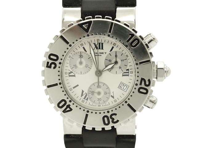 【USED】 ショーメ - CHAUMET - クラスワン クロノグラフ SS/ラバー クオーツ 白 ホワイトダイヤル ボーイズ 腕時計【中古】