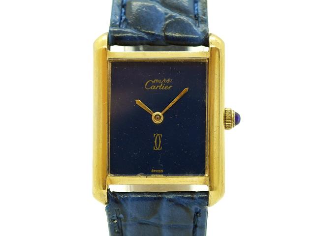 【USED】 カルティエ ‐ CARTIER - マストタンク 青 ブルー ダイヤル 貴重! YGP/革 手巻き レディース 腕時計 【Luxury Brand Selection】【中古】