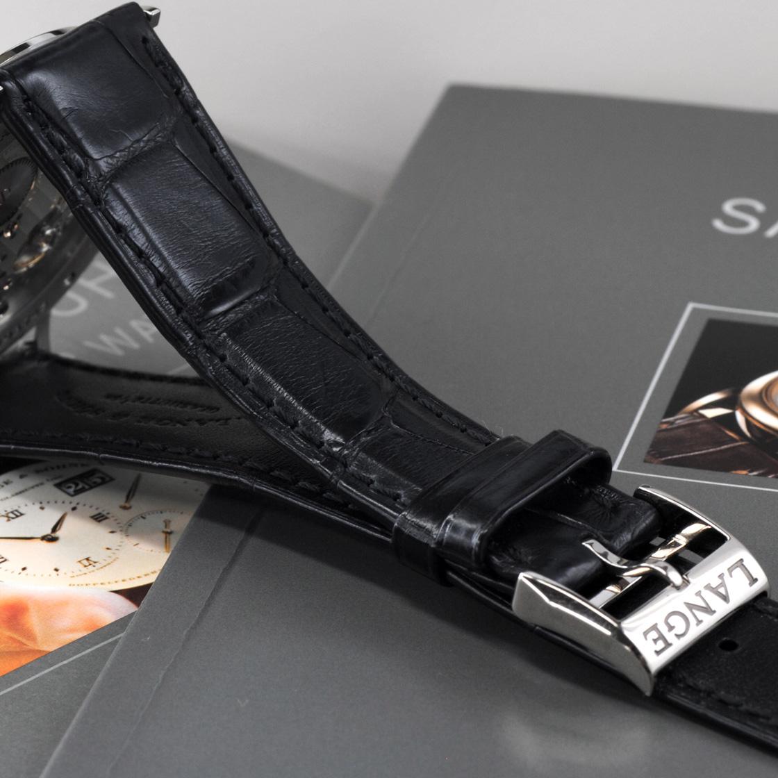 A.蘭格&zonesakusoniafurahha機械式手卷K18WG純金/皮革銀子透明背211.026/LS2113AJ