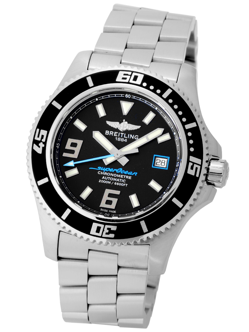 9729502daa1 Breitling superocean 44 abyss blue SS bracelet automatic 2000 m waterproof  mens A17391  s satin finish breath.