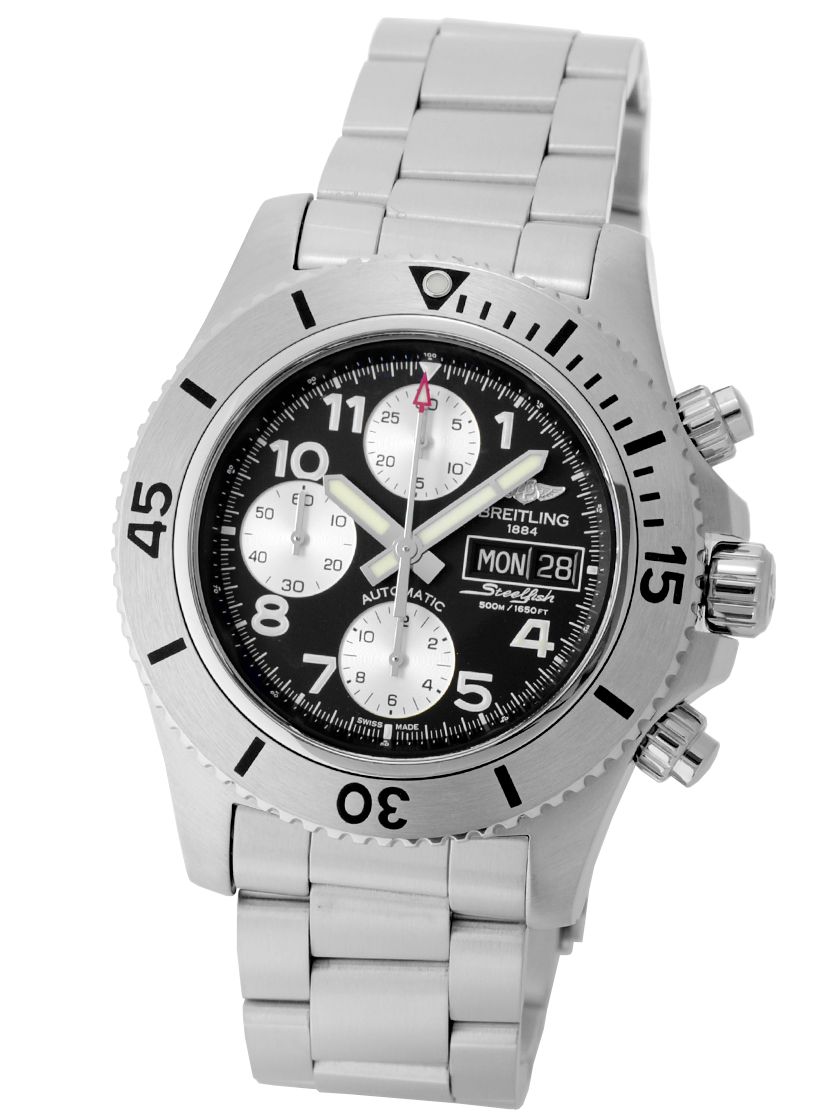 buy popular fb057 35f8e Breitling mens Super Ocean chronograph steel fish volcano black SS (matte  or satin finish) automatic self-winding A13341 (A141B19PSS)