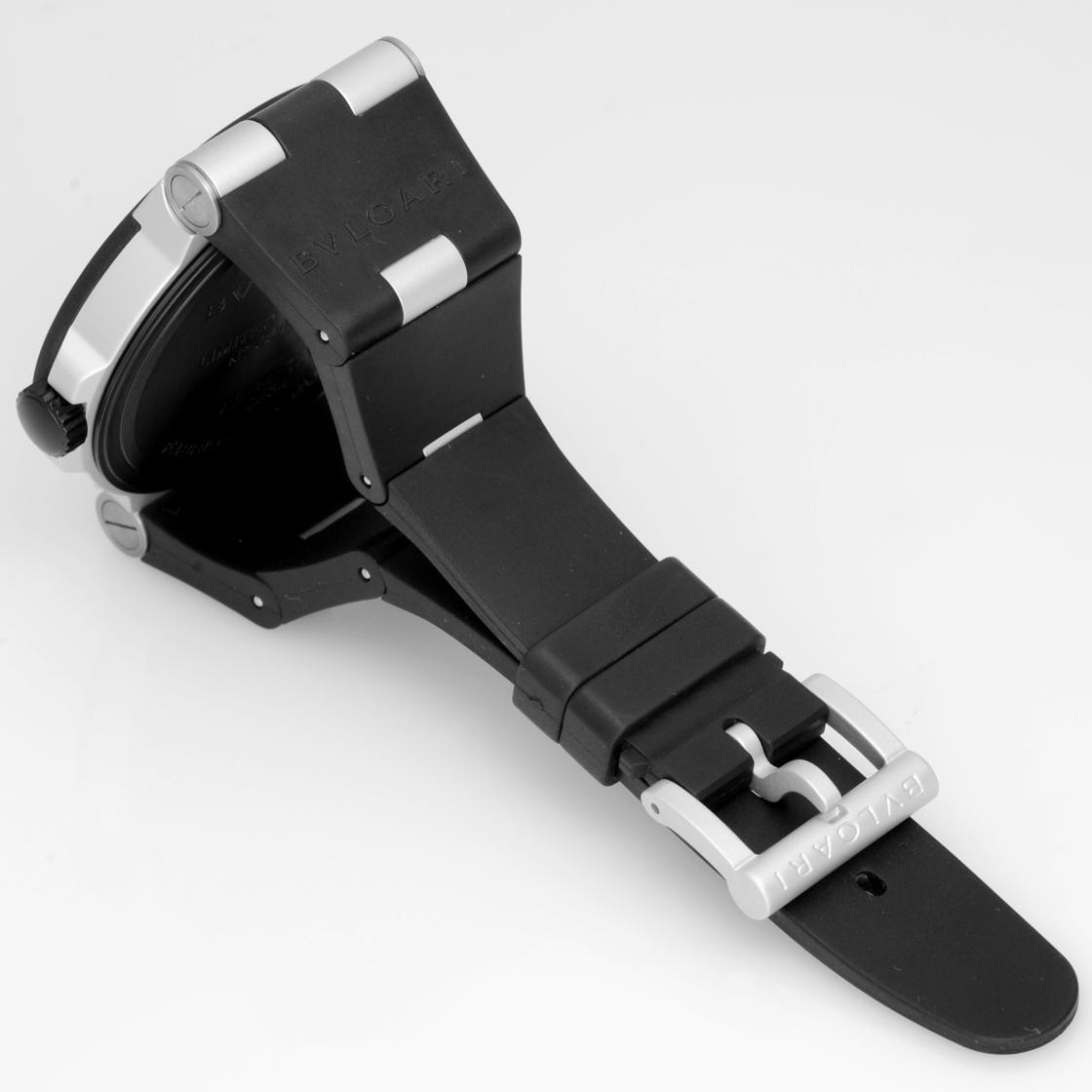 """불가리 AL44C11TAVD 디아고노아르미니움""""BALI(발리)""""300개 한정 알루미늄/블랙 러버 자동감김 브라운 문자판 맨즈《희소・레어 모델!》"""