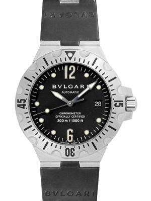 寶格麗 SD40SVD 水肺潛水 SS / 橡膠黑色字母版自動,潛水腕表。