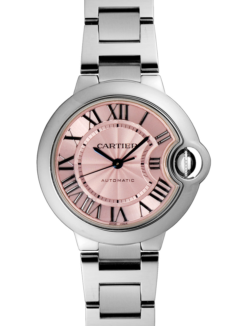 Cartier Ballon blue W6920100 33 mm ladies SS automatic winding pink dial f9e94590f