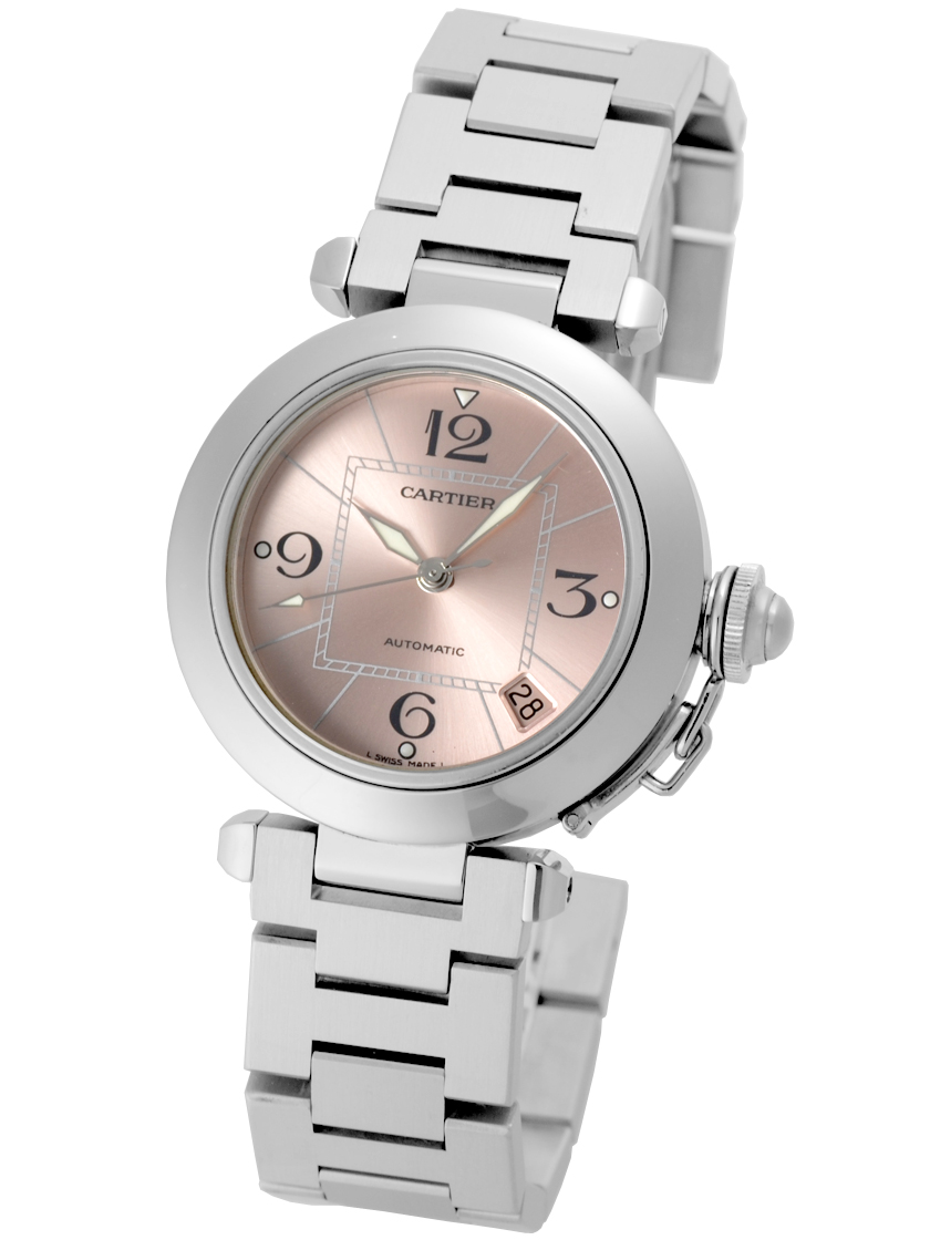 9e30a0a7b0c0 Cartier Pasha C pink dial (square-shaped calendar) SS boys (unisex)  automatic winding W31075M7