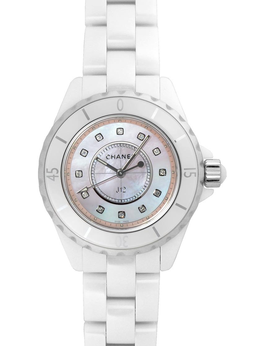 【新品】シャネル H5513 J12 コレクター 33ミリ ホワイトセラミック クォーツ ピンクシェルダイアル 12ダイヤモンド 世界限定1200本
