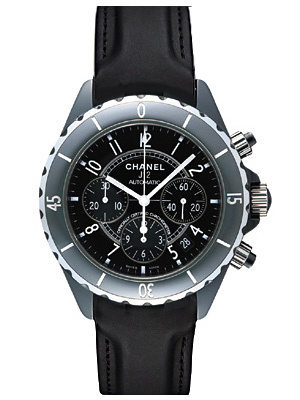 3b151988 Chanel J12 mens H0938 chronograph automatic winding Black ceramic / leather  s diving watches.