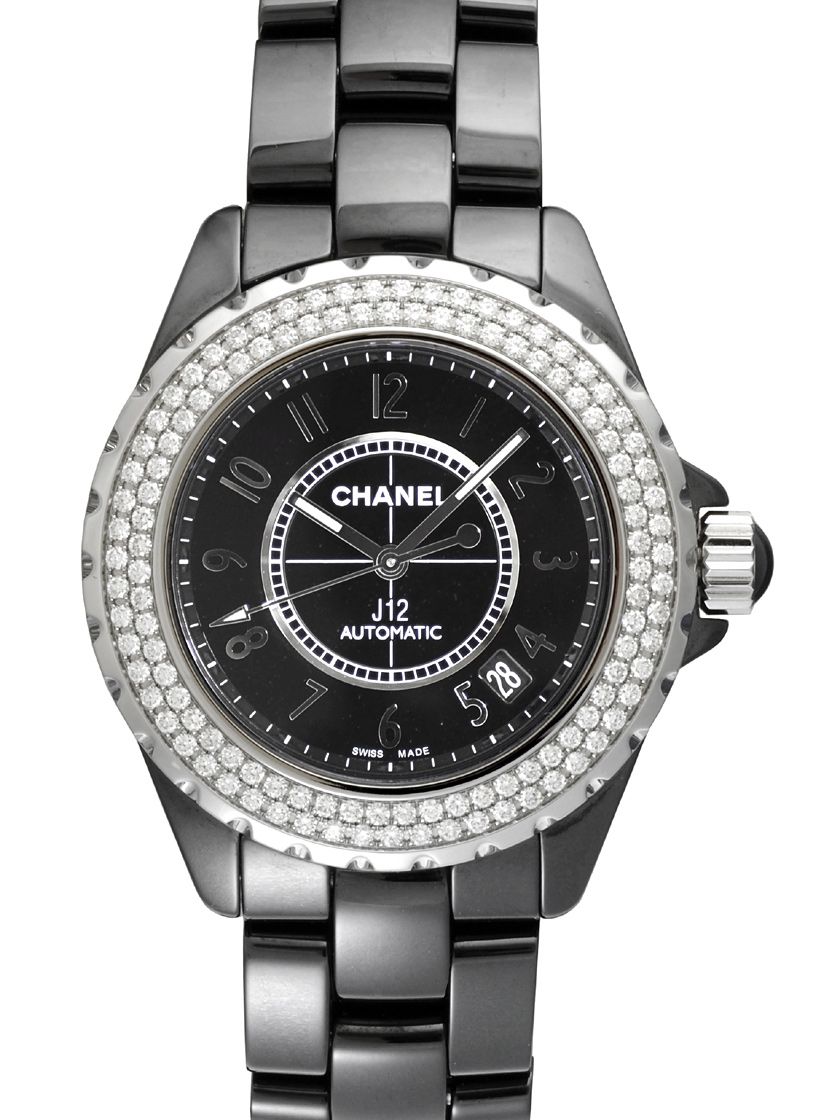 5ec51179b49 Chanel J12 H0950 Black ceramic Diamond Bezel automatic movement black mens