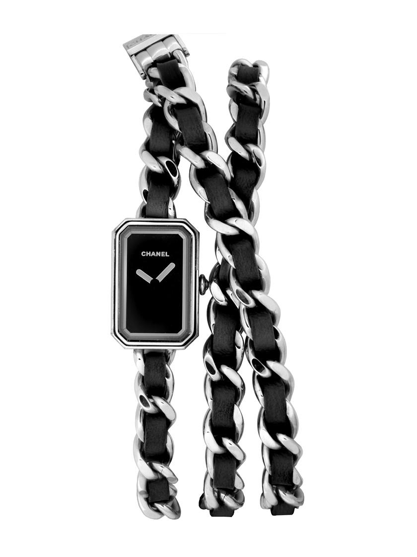 【新品】シャネル H3749 プルミエール ロック ブラック ステンレス&ブラックレザー クォーツ ブラックダイアル 【XSサイズ】