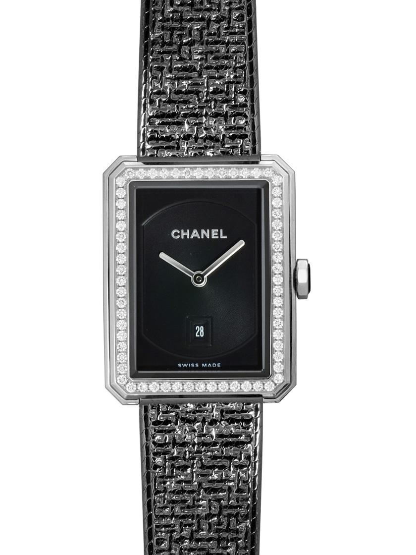 【新品】シャネル H5318 ボーイフレンド ツイード ミディアムサイズ ブラックコーティング ケースダイヤモンド SSブレス クォーツ ブラックダイアル